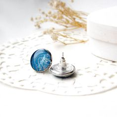 Blue studs earring  sea earring by OPStyle on Etsy