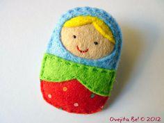 Little Matryoshka felt brooch :)