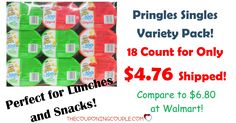 WOW! Stock up for lunches or snacks! Get an 18 count Pringles Singles Variety Pack for only $4.76 shipped! (compare to $6.80 at Walmart!)  Click the link below to get all of the details ► http://www.thecouponingcouple.com/pringles-singles-variety-pack-18-count-4-76-shipped/ #Coupons #Couponing #CouponCommunity  Visit us at http://www.thecouponingcouple.com for more great posts!