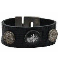 Arana zwart - leren armband (Breedte: 3 cm)