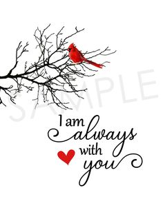 I Am Always With You Cardinal Red Bird Printable Wall Decor Cardinal Tattoos, Red Bird Tattoos, Owl Tattoos, Tatoos, Printable Art, Printables, Bird Quotes, Grieving Quotes, I Am Always