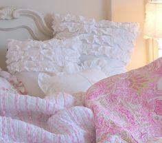 Dreamy White Ruffled Pillow