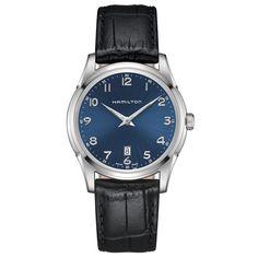 Jazzmaster thinline quartz acier cadran bleu bracelet cuir 42mm (360 euros)