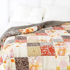 red, orange, gray quilt. love.