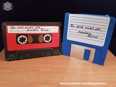 Geburttagskarten: Kassette und Diskette - Retro