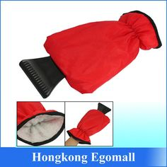 Ice Scraper Glove Red with Fleece Inner Lining Built In Scraper Remove Ice Snow Car Washer, Lining Fabric, Gloves, Plush, Plastic, Snow, Hands, Red, Sweatshirts