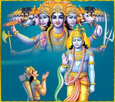 """☀ SHRI KRISHNA & ARJUNA ☀ Arjuna said: """"O Lord of the universe, O universal form, I see in Your body many, many arms, bellies, mouths and eyes, expanded everywhere, without limit. I see in You no end, no middle and no beginning.""""~ Bhagavad gita as it... Lord Krishna Images, Radha Krishna Pictures, Radha Krishna Photo, Krishna Photos, Krishna Art, Radhe Krishna, Lord Balaji, Krishna Leela, Happy Gif"""