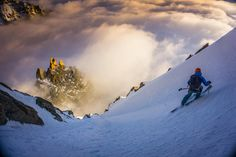 Kilian Jornet   Descent in Chardonnet at the end of the day.