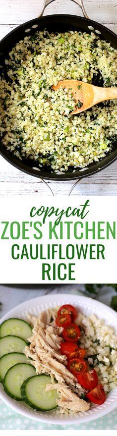 Zoe's Kitchen Cauliflower Rice Recipe (Bright and Flavorful Copycat Recipe) Clean Dinner Recipes, Clean Eating Dinner, Clean Eating Recipes, Healthy Eating, Healthy Food, Healthy Heart, Copycat Recipes, Rice Recipes, Real Food Recipes