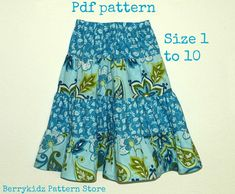 Looking for your next project? You're going to love 4 Tier Twirl skirt pattern, Size 1 to 10 by designer Berrykidz. Girls Skirt Patterns, Skirt Patterns Sewing, Skirt Sewing, Beginner Sewing Patterns, Sewing For Beginners, Skirt Pattern Free, Sew Pattern, Twirl Skirt, Fabric Combinations