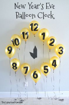 New Years Eve! Kids will love using this DIY New Year's Eve Balloon Clock Countdown to keep track of the hours 'til midnight, also makes a great NYE party photo background. New Years With Kids, Kids New Years Eve, Happy New Years Eve, New Years Eve Party Ideas For Family, New Years Eve Games, New Years Party Themes, New Years Eve Quotes, New Year Diy, New Years Eve Food