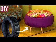 DIY - PUFF FOFINHO DE PNEU!!! - YouTube