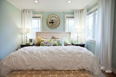 "Beautiful bedroom (wall color -- Sherwin Williams ""Rainwashed"")"