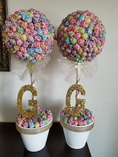 First communion centerpieces baptism dum dums topiary dum dums tree centerpiece birthday candy table set of 2 Birthday Candy, Birthday Table, Sweet 16 Birthday, Unicorn Birthday Parties, Communion Centerpieces, Candy Centerpieces, Wedding Centerpieces, Candy Topiary, Candy Trees