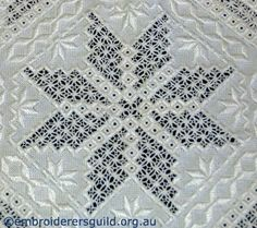 Detail Hardanger Doyley stitched by Bonnie Crawford