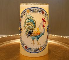 LED Pillar Candle With Roosters by DontForgetTheFlowers on Etsy Flickering Lights, Flameless Candles, Pillar Candles, Wrapping Paper Bows, Gift Wrapping, Rooster Decor, Roosters, Beautiful Paintings, Dog Lovers