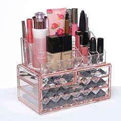 Ikee Design Acrylic Pink Diamond Pattern Jewelry & Cosmetic Storage Display Boxes Two Pieces Set.