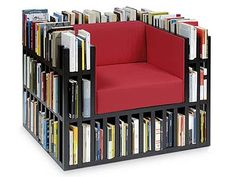 Now THIS is a reading chair! I love it. |Books||Library furniture||Seating ideas||Cool chairs|