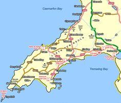 llyn peninsula map - Google Search Wales Uk, North Wales, Aberystwyth, Dublin City, Cymru, Beach Crafts, My Childhood Memories, Great British, Celtic