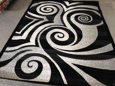 Modern Circle Area Rug Black White Gray Circles Swirls Brush Pattern 6'6x9'2 #suntex #Contemporary