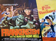 """Double-billing of """"Frankenstein and the Monster From Hell""""/""""The Fists of Vengeance"""" poster, illustrated by Bill Wiggins Classic Monster Movies, Classic Horror Movies, Classic Monsters, Frankenstein Film, Hammer Horror Films, Hammer Films, Horror Movie Posters, Film Posters, Fiction Movies"""