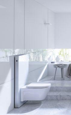 Natural light + sleek bathroom design with Geberit = much-needed powder room makeover
