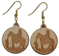 Horse and rider in the desert earrings with 1 inch wooden beads- gold plated EP Laser http://www.amazon.com/dp/B00FEPMRPM/ref=cm_sw_r_pi_dp_lP-5vb0A87HHH
