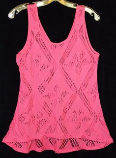 Charlotte Russe  Size Medium Neon Coral Perforated Design Womens Tank Top V Back #CharlotteRusse #TankCami #Casual