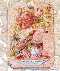 antiqued collage tag