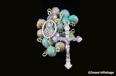 Auto Rosary Pocket Chaplet Green Purple Czech Glass Picasso Faceted Bead Rondelle 1 Decade Silver (15.71 USD) by JessesVintage