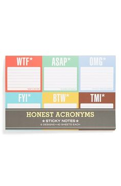 Knock Knock 'Honest Acronyms' Sticky Notes (6-Pack) available at #Nordstrom