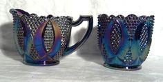 L.E. Smith Amethyst Carnival Glass Creamer & Sugar Diamond Pattern