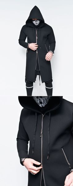 Tops    Double-Side Zip Long Neoprene Hoodie-Jacket 138 - Mens Fashion  Clothing For An Attractive Guy Look cd9af5a9a50