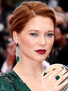 Cannes' Most Dazzling Diamonds (and Rubies, and Emeralds) in the Past 10 Years | LÉA SEYDOUX | The French beauty chose an enchanting emerald Prada gown for  the Saint Laurent premiere, but all eyes were on her Chopard jewelry. She elevated her look with a 39-carat pear-shaped emerald and white diamond drop earrings to a matching 13.36-carat octagonal-cut emerald ring.