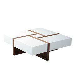 Diamonte square coffee table in high gloss white and walnut.