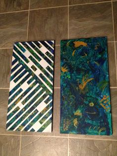 """Let my kids do their art all over these canvases, then tapes them with painters tape, sprayed over with white flat spray paint and peeled tape off while spray paint was still wet. Fun way to add some """"order"""" to their art!"""