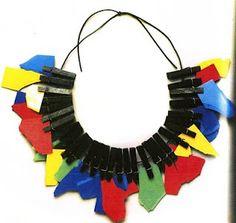 Robert Ebendorf  Necklace  Color core, wodden clothespins, rubber paint
