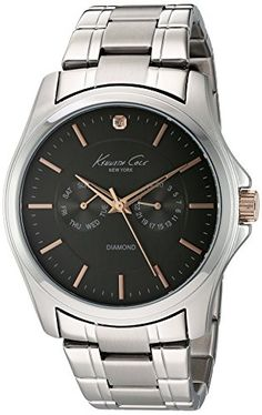 Men  Watches - Kenneth Cole New York Mens 10022311 Genuine Diamond Rock Out Analog Display Japanese Quartz Silver Watch >>> Visit the image link more details. (This is an Amazon affiliate link)