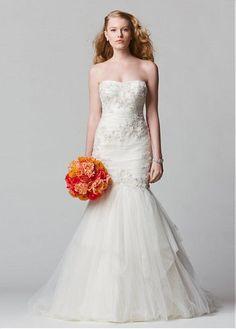 AMAZING TULLE MERMAID STRAPLESS NECKLINE NATURAL WAISTLINE WEDDING DRESS IVORY WHITE LACE BRIDAL GOWN