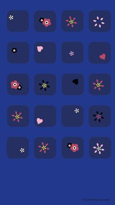 Blue Flower Pattern iPhone Home Screen Wallpaper @PanPins