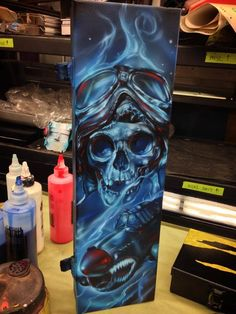 Airbrushed Tool Box - Painted by Mike Lavallee of Killer Paint… Airbrush Designs, Creative Artwork, Cool Artwork, Skull Pictures, Custom Airbrushing, Custom Paint Jobs, Air Brush Painting, Motorcycle Art, Lowbrow Art