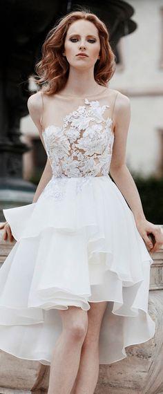 Alluring Tulle & Organza Satin Bateau Neckline Hi-lo Wedding Dresses With Lace Appliques