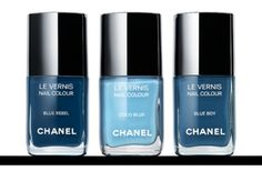 Chanel just launched a limited-edition run of their latest nail color collection: Les Jeans de Chanel - inspired by, you guessed it, blue jeans. From left: Blue Rebel, Blue Boy and Coco Blue. Sold at Chanel boutiques and on Chanel.com from September 8th through the end of the month, after which these polishes will be no more. $29.99