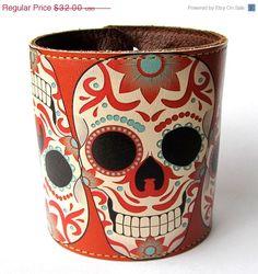 Sugar skull printed leather cuff