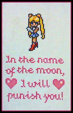 "Sailor Moon ""I Will Punish You"" Cross Stitch PDF pattern"