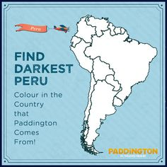 Think you can find Paddington's home country? Bonus points if you can make out the other countries in South America! Print this free activity and enjoy an educational game with your kids. Paddington Film, Paddington Bear Party, World Language Classroom, Harry Birthday, Five In A Row, Theme Days, Family Movie Night, Now And Then Movie, Book Week