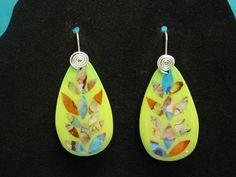 Nacre Inlay Earrings by Dixie Ann Scott from a technique by Mirka Prazak of the Czech Republic.