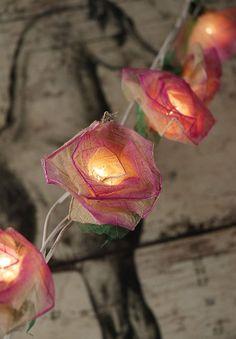 Natural Leaf Pink Roses Flower String Lights 20 lights   $16 set/ 6 sets $14 set    (end to end plug in)