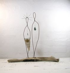 Rustic House Decor Wire Sculpture Couple  Driftwood by idestudiet, $110.00