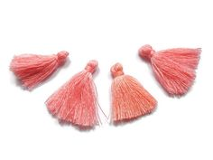 5 Pieces Tiny Champagne Pink Tassels  Cotton by FoxyBeadsCo
